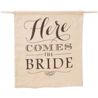 Hortense B. Hewitt Here Comes the Bride Burlap Sign