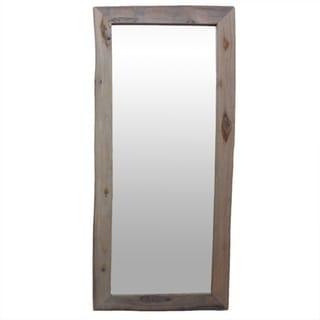 "Handmade Antique White Reclaimed Teak Wood Mirror - 22"" x 48"" (Thailand)"