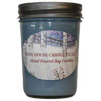 Scented Blue 8-ounce Jelly Jar Soy Candle