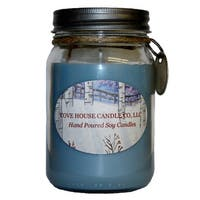 Scented Blue 16-ounce Canning Jar Soy Candle - 16 oz