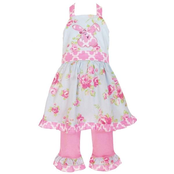 AnnLoren Girls Floral Bunny Halter Easter Dress and Capri Pant Set