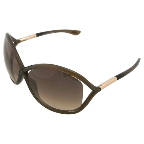 Tom Ford Women's 'TF009 Whitney 692' Brown Plastic Fashion Sunglasses - Large