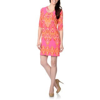 Studio One Women's Coral Multi-printed Jersey Knit Dress