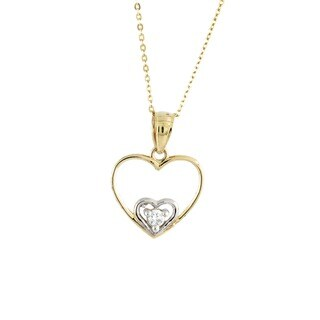 14k Two-tone Double 'Love' Cubic Zirconia Heart Charm Necklace