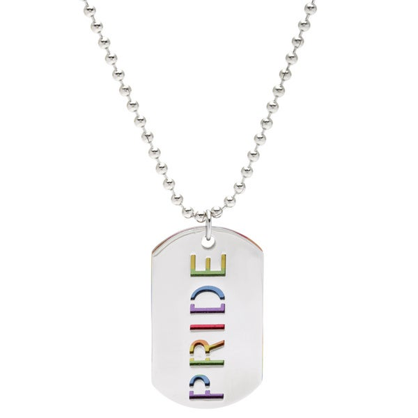 Spikes 316L Stainless Steel Double Dogtag with Horizontal Rainbow and Carved Out 'PRIDE'