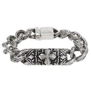 Spikes 316L Steel Casted Bracelet Celtic Cross and Engraved Links