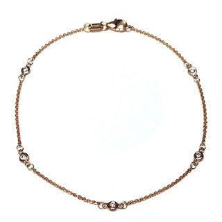 Neda Behnam 14k Rose Gold 1/8ct Bezel Station Bracelet