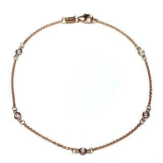 Neda Behnam 14k Rose Gold 1/8ct Bezel Station Bracelet