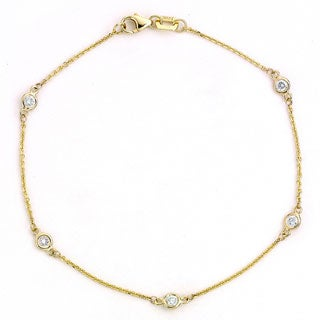 Diamonds For A Cure 14k Yellow Gold 1/3ct TDW Bezel Station Bracelet (G-H, SI1-SI2)