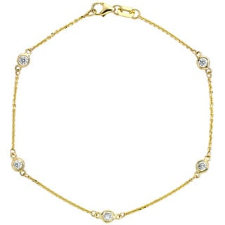 Diamonds For A Cure 14k Yellow Gold 3/8ct TDW Bezel Station Bracelet (G-H, SI1-SI2)
