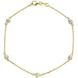 Neda Behnam 14k Yellow Gold 3/8ct TDW Bezel Station Bracelet