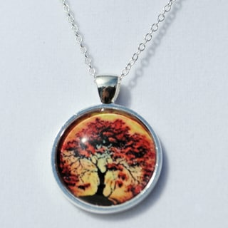 Moonlight Red Oak Tree Glass Dome Necklace
