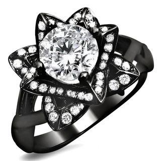 Noori 14k Black Gold 1ct Round Diamond Lotus Flower Engagement Ring (G-H, SI1-SI2)