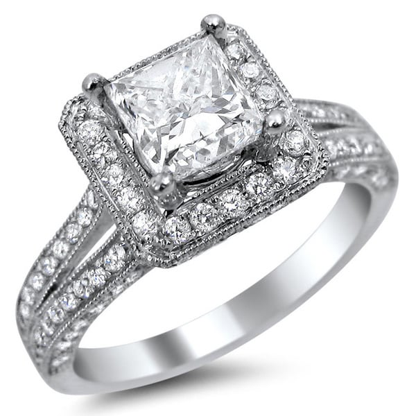 Noori 14k White Gold 1 3/4ct TDW Clarity Enhanced Princess Diamond Engagement Ring (E-F, VS1-VS2)