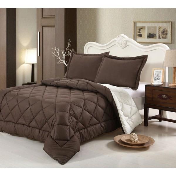 All Season Hand-crafted Brushed Velvet Down Alternative Reversible Comforter Set