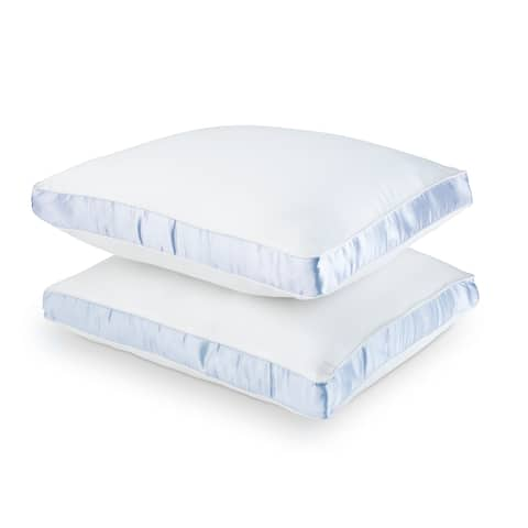 DOWNLITE Cotton Sateen 300 TC Firm Density Pillows (Set of 2) - White
