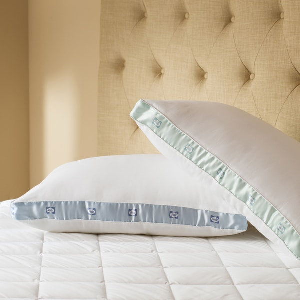 Sealy Cotton Sateen 300 Thread Count Medium Density Pillows (Set of 2)