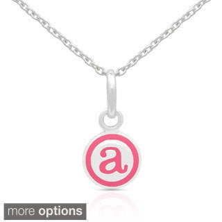 Molly and Emma Sterling Silver Pink Enamel A to Z Option Initial Necklaces