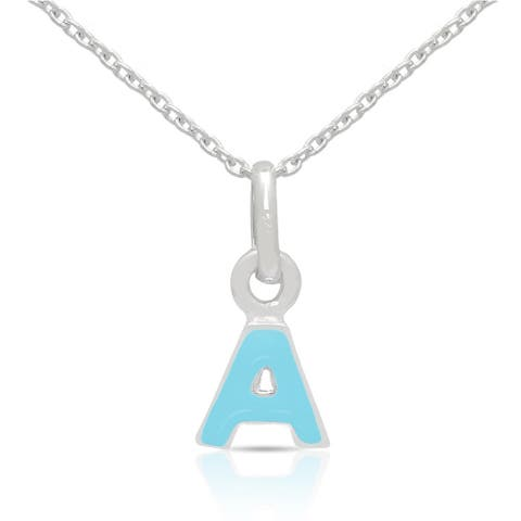 Molly and Emma Sterling Silver Blue Enamel A to Z Option Initial Necklaces