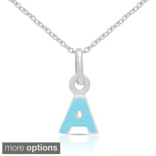 Molly and Emma Sterling Silver Blue Enamel Initial Necklaces