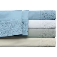 Andre White Embroidered Cotton 400 Thread Count Sateen Sheet Set