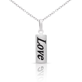 Molly and Emma Sterling Silver 'Love' Dog Tag Necklace