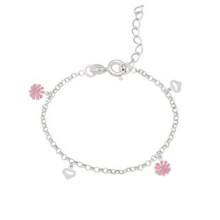 Molly and Emma Sterling Silver and Enamel Flower Charm Bracelet