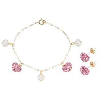 Pearlyta 14k Gold Children's Freshwater Pearl Heart Charm Bracelet and Earring Set (4-5 mm) - Pink