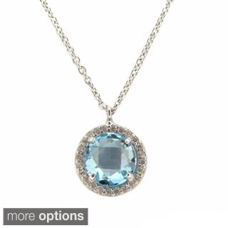 Sterling Silver Faceted Round Gemstone Cubic Zirconia Halo Necklace