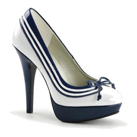 Women's Funtasma Lolita 13 White/Navy Blue Patent