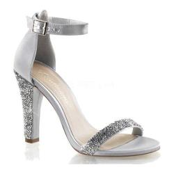Women's Fabulicious Clearly 436 Ankle Strap Sandal Silver Satin