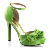 Women's Fabulicious Lumina 36 Ankle Strap Apple Green Satin