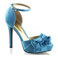 Women's Fabulicious Lumina 36 Ankle Strap Blue Satin