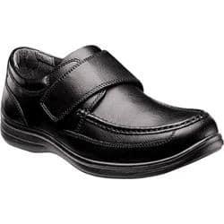 Men's Nunn Bush Matthew 84535 Moc Toe with Hook and Loop Strap Black Leather|https://ak1.ostkcdn.com/images/products/88/263/P17160369.jpg?impolicy=medium