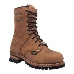 Womens AdTec 2426 9in Steel Toe Logger Brown Leather