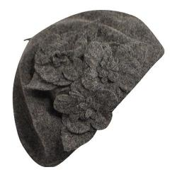 Women's Betmar Flower Beret Charcoal Heather