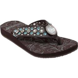 Women's Ride Tecs 8587 Jeweled Low Thong Sandal Black Polyurethane
