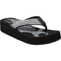 Women's Ride Tecs 8594 Thong Fine Jeweled Wedge Sandal Black Polyurethane