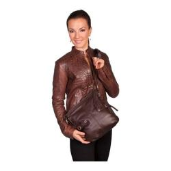 Scully Leather Brown Shoulder Handbag