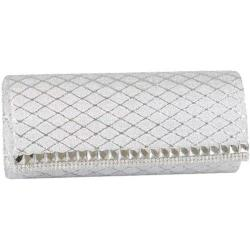 Women's J. Furmani 27514 Glitter Flap Clutch Silver