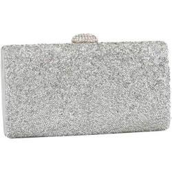 Women's J. Furmani 60206 Beaded Hardcase Clutch Silver