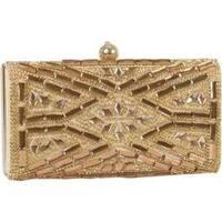 Women's J. Furmani 60239 Hardcase Stone Design Clutch Gold