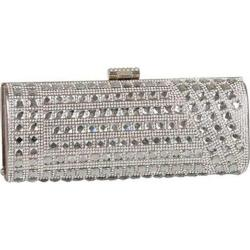 Women's J. Furmani 62031 Crystal and Stone Hardcase Clutch Pewter