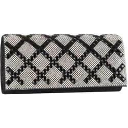 Women's J. Furmani 62763 Criss-Cross Crystal Clutch Black