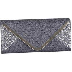 Women's J. Furmani 81340 Rhinestone Glitter Envelope Clutch Grey