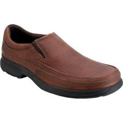 Men's Rockport Barrows Loft Moc Slip On Dark Tan Full Grain Leather