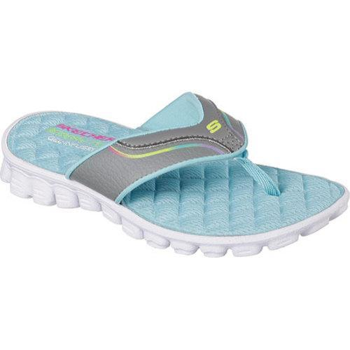 99edd1a38c898b Shop Girls  Skechers Skech Flex Summer Solstice Thong Sandal Gray Turquoise  - Free Shipping On Orders Over  45 - Overstock - 10103604