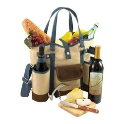 Picnic Time Wine Country Tote Tan/Blue Trim