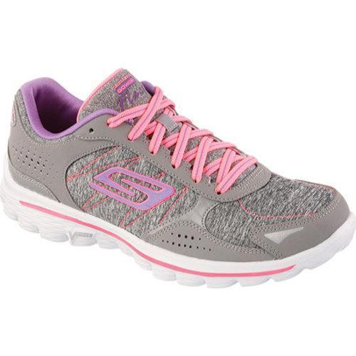 6c14201581d9 Shop Women s Skechers GOwalk 2 Flash Gym Gray Hot Pink - Free ...