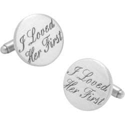 Men's Cufflinks Inc Wedding Series I Loved Her First Cufflinks Silver